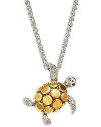 Effy 18k Yellow Gold, Sterling Silver & Diamond Turtle Pendant Necklace - Metallic