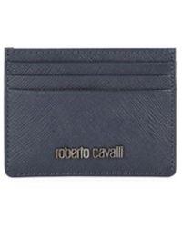 Roberto Cavalli Men's Leather Card Case - Navy - Blue