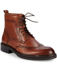 Saks Fifth Avenue Arrezzo Wingtip Leather Ankle Boots - Brown