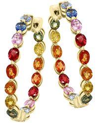 Effy Watercolor 14k Yellow Gold & Multicolored Sapphire Hoop Earrings - Metallic