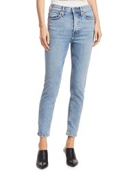 RE/DONE High-rise Ankle Crop Comfort Stretch - Blue