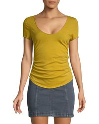Free People Sonnet Ruched Scoop-neck T-shirt - Yellow