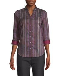 Robert Graham Arverne Stripe Shirt - Purple