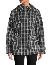 Calvin Klein Plaid Hooded Trench Coat - Grey