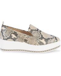 Karl Lagerfeld Brea Snakeskin-embossed Leather Platform Loafers - White