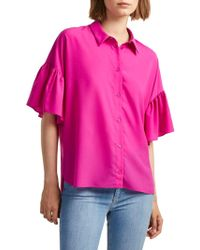 French Connection Flutter-sleeve Button-down Shirt - Pink
