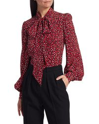 Michael Kors Women's Animal-print Silk Tieneck Blouse - Crimson Multi - Size 4 - Red