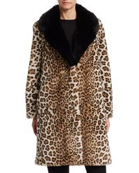 St. John Ocelot-print Faux Fur Coat - Brown