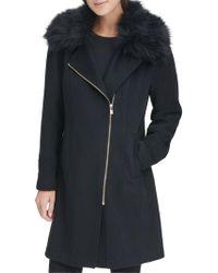 Karl Lagerfeld Faux Fur-trimmed Coat