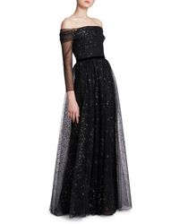 Marchesa Glitter Off-the-shoulder Ball Gown - Black