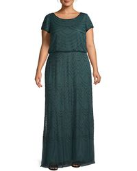 Adrianna Papell Plus Blouson Beaded Gown - Green