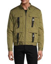 NANA JUDY Men's Full-zip Buckled Jacket - Acre - Size S - Green