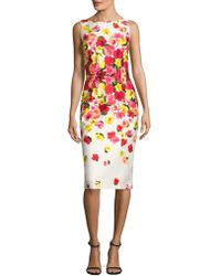 David Meister - Sleeveless Ombre Floral Sheath Dress - Lyst