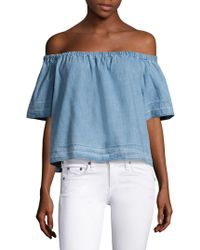 AG Jeans - Sylvia Off-the-shoulder Chambray Top - Lyst