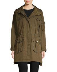 Karl Lagerfeld Hooded Cotton Blend Coat - Green