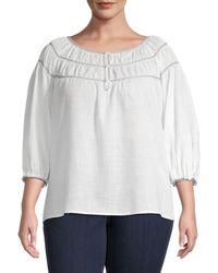 Max Studio Plus Cotton-blend Bubble-sleeve Top - White
