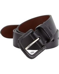Saks Fifth Avenue Collection Leather Wrapped Buckle Belt - Black