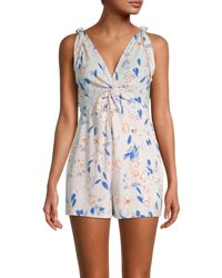 BCBGeneration Floral V-neck Sleeveless Romper - Blue