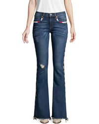 Miss Me Distressed Bootcut Jeans - Blue