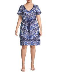 Estelle Women's Plus Floral-print Knee-length Dress - Blue Print - Size 4x (26-28)
