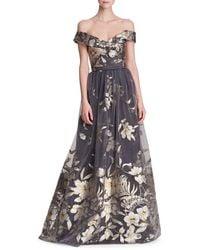 Marchesa Metallic Fil Coupé Off-the-shoulder Gown