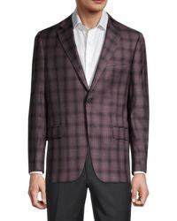 Hickey Freeman Men's Milburn Ii Regular-fit Check Wool Sportcoat - Burgundy - Size 42 R - Purple