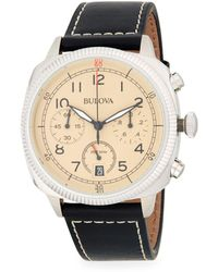 Bulova - Military Stainless Steel And Leather-strap Watch - Lyst