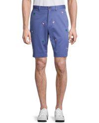 Brooks Brothers Flamingo & Palm Tree Embroidery Shorts - Blue