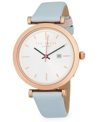 Ted Baker - Ava Stainless Steel And Leather Strap Bracelet Watch - Lyst