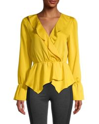 BCBGMAXAZRIA Women's Wrapped Peplum Top - Yellow - Size Xxs
