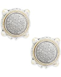 Effy - 18k Yellow Gold & Diamonds Round Earrings - Lyst