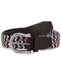 Robert Graham Men's Jive Leather Belt - Brown Multi - Size 36