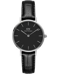 Daniel Wellington Petite Reading Stainless Steel Leather-strap Watch - Black