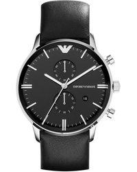 Emporio Armani Gianni Silvertone & Leather-strap Chronograph Watch - Black