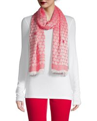 Boutique Moschino Heart Print Scarf - Pink