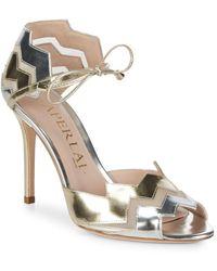 Aperlai - Two-tone Metallic Zigzag Heels - Lyst