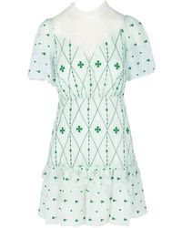 Sandro Women's Embroidered Fit-&-flare Dress - Green White - Size 40 (l)