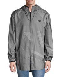 Yohji Yamamoto Men's Logo Hooded Windbreaker - Gray Black - Size M