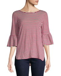 Max Studio - Flare-sleeve Striped Top - Lyst
