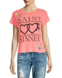 Wildfox - Distressed Cotton Tee - Lyst