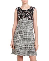 Giambattista Valli Women's Embroidered Floral & Tweed Sheath Dress - Black White - Size 48 (14)