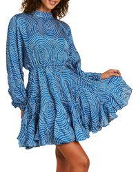 RHODE Printed Long-sleeve Dress - Blue