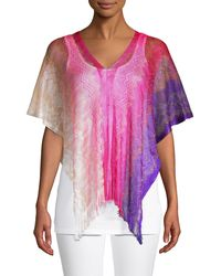 Missoni Fringe-trim Ombré Poncho - Purple