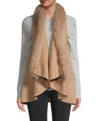 Adrienne Landau Women's Dyed Fox Vest - Black