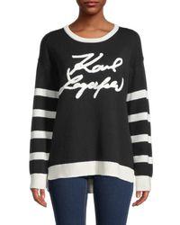 Karl Lagerfeld Striped Logo Jumper - Black
