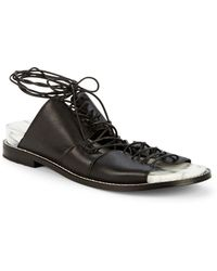 Kelsi Dagger Brooklyn Olympia Leather Lace-up Backless Sandals - Black