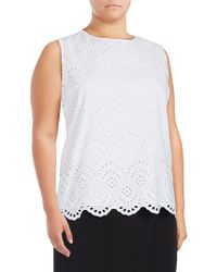 CALVIN KLEIN 205W39NYC - Plus Sleeveless Laser-cut Cotton Top - Lyst