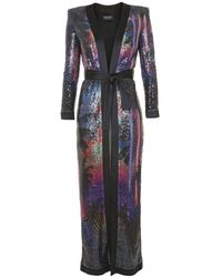 Balmain Printed Sequin Belted Duster - Multicolor