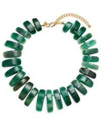 Kenneth Jay Lane Women's 22k Gold Electroplate & Green Agate Necklace