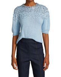 Cinq À Sept Lisa Embellished Wool-blend Short Puff-sleeve Jumper - Blue